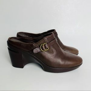 Cole Haan Nike Air brown leather buckle strap clog
